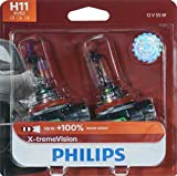 Philips H11 X-tremeVision Upgraded Headlight Bulb with up to 100% More Vision, 2 Pack