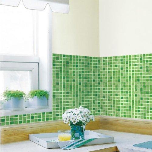 Decowall, HWP-21233 Modern Mosaics Green Tile Effect Self-adhesive wallpaper (2) 50cm x 2.5m)