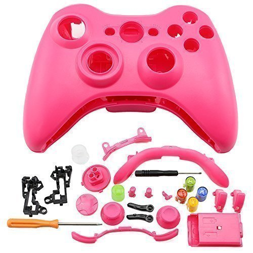 Super Custom Replacement Wireless Game Controller Shell Case Cover Kit for Xbox 360 – Includes Button Set, Torx & Phillips Head Screwdrivers (Pink)