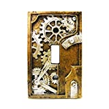 4.25 Inch Resin Steampunk Light Switch Plate Cover, Gray/Gold (Color: Earthtones)