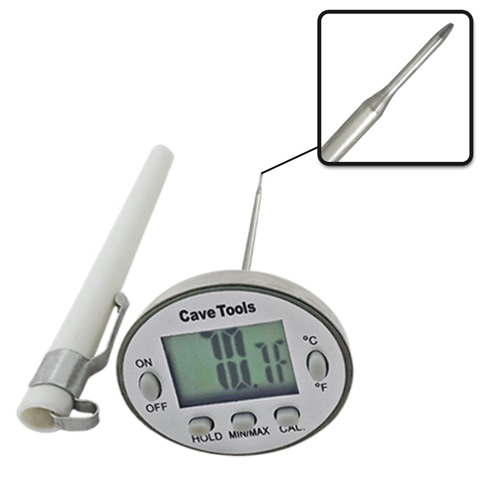 Digital Cooking Thermometer - INSTANT READ & LIFETIME GUARANTEE - For BBQ Grilling Candy Chocolate Meat Baking Liquids Smoker - Stainless Steel Casing Long Food Probe & LCD Display by Cave Tools
