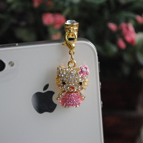Kitty Rhinestone (Jp-564-Pink) Dust Plug / Earphone Jack Accessory / Ear Cap / Ear Jack For Iphone / Samsung / Htc / All Device With 3.5Mm Jack