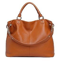 Sonyabecca Women Leather Handbag Travel Tote Bag for 13.3\'\' Laptop, brown, normal
