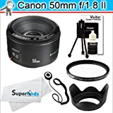 Canon EF 50mm f/1.8 II Camera Lens + Tiffen UV Protector Filter + Deluxe Accessory Bundle for Canon EOS Rebel Digital SLR Cameras