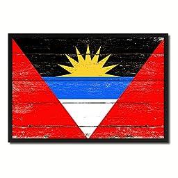 Antigua and Barbuda National Shabby Chic Flag Art Canvas Print Wall Home Décor Interior Design Souvenir Gift Ideas