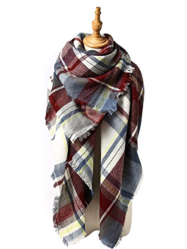 Zando Plaid Blanket Thick Winter Scarf Tartan Chunky Wrap Oversized Shawl Cape G Fuchsia (British Plaid Coat compare prices)