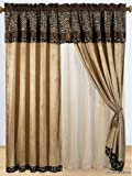 8 Pc Modern Safari - Zebra - Giraffe Print Brown Micro Fur Curtain Set