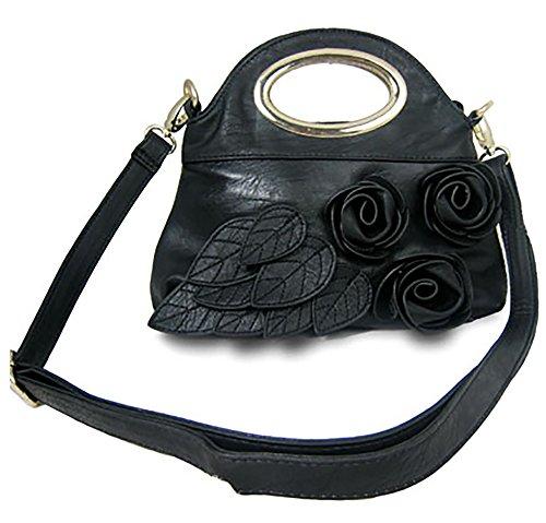 Flower Clutch Oval Metal Handle Evening Bag Crossbody Sling Handbag Purse - Black