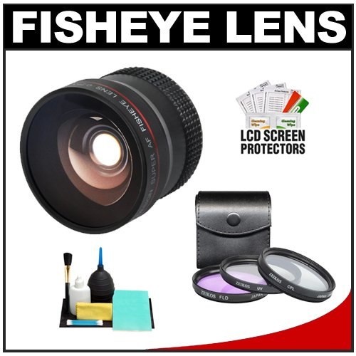 Precision Design 0.25X Super AF Fisheye Lens with 3 Piece (UV/FLD/CPL) Filter Set + Cleaning & Accessory Kit for Nikon D3000, D3100, D5000, & D5100 Digital SLR Cameras with 18-55mm VR, 55-200mm, or 55-200mm VR Zoom Lens