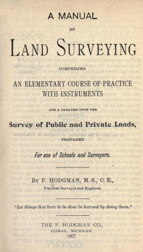 A Manual Of Land Surveying