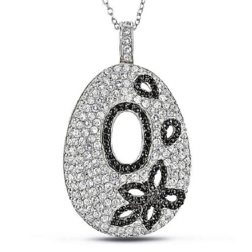 Sterling Silver White and Black Cubic Zirconia Design Pendant with Chain