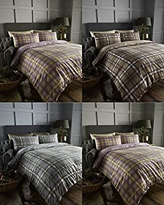 Arran Tartan 100% Brushed Cotton Flannelette Thermal Duvet Quilt Cover Bedding