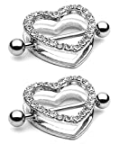"2pcs Clear Gem Paved Heart Nipple Shield Ring 14GA 7/8"" Length"