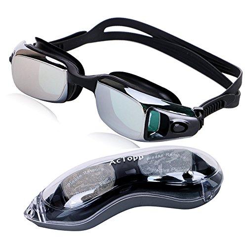 AcTopp Erwachsene Schwimmbrille 100% UV-Schutz Antibeschlag-Schutz Wasserdicht mit flexiblem Silikonband Schwarz/Blau