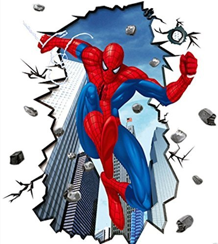 Giant Superman Spiderman 3D Wall Sticker for Kids Rooms Wall Adhesive Home Decor Wall Decals by E-World Enterprises