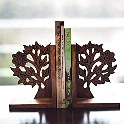 ExclusiveLane Wooden Engraved & Carved Tree Of Life Book End