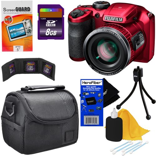 Fujifilm Finepix S6800 16Mp Digital Camera With 30X Optical Zoom, Full Hd Movie And 3-Inch Lcd (Red) + 7Pc Bundle 8Gb Accessory Kit W/ Herofiber® Ultra Gentle Cleaning Cloth