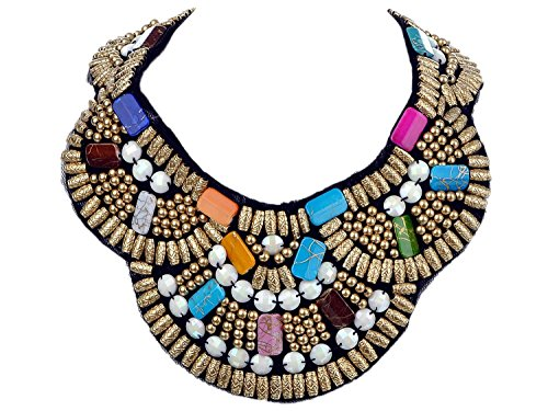 Alma, Fashion Colorful Tribal Style Statement Necklace Gold Tone Beads