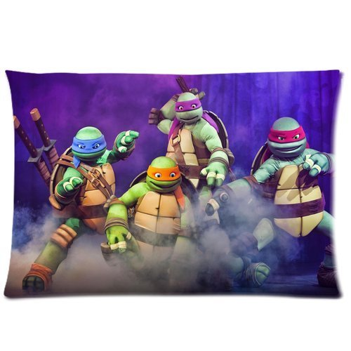 Generic Custom Teenage Mutant Ninja Turtles Printed Zippered Blue Pillowcase Cushion Cover 20*30(Twin Sides) front-985191