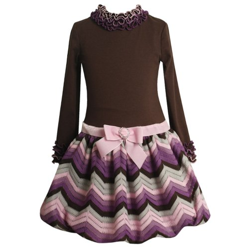 Size-5 BNJ-0005B BROWN PURPLE PINK FLAMESTITCH BUBBLE KNIT Special Occasion Flower Girl Holiday Party Dress,B30005 Bonnie Jean LITTLE GIRLS