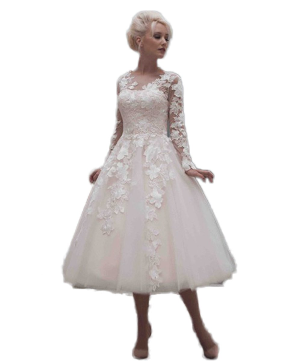 CoCoGirls Vintage Bridal Wedding Dresses Tea Length Applique Long Sleeve Gown 0