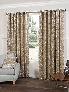 "Silk Dark Cream Velvet 90x72"" 229x183cm Lined Ring Top Eyelet Curtains *gj* by Curtains"