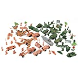 Deluxe Action Figures Army Men Soldier Military Playset with Scaled Vehicles (73 pcs)