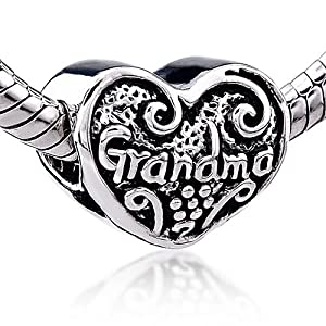 Heart Grandma Charm Bead - Pandora Beads & Charms Compatible