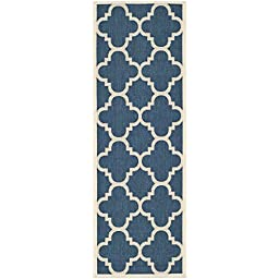 Safavieh Courtyard Collection CY6243-268 Navy and Beige Indoor/ Outdoor Runner, 2 feet 3 inches by 10 feet (2\'3\
