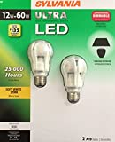 Sylvania Ultra LED Dimmable 2700k Soft White A19 bulb, 12w=60w, (Pack of 2)