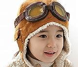 HiroJapan x LeiFeng 飛行帽、パイロット帽子 子供用【茶色】(ぷちポケモンフィギュア1個付き)、耳あて付き帽子、あったかボアつき耳あて、寒い冬もこれで暖か、スキーに、普段の外出に、耳まで温かい、寒い所にに行くときは必需品、Drスランプのアラレちゃん、「永遠の0」、紅の豚、風の谷のナウシカもかぶっていました (茶色 ブラウン)