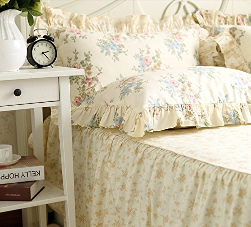 FADFAY Home Textile,Vintage Floral Print Bedding Set,Elegant French Country Style Bedding Set,4Pcs 1