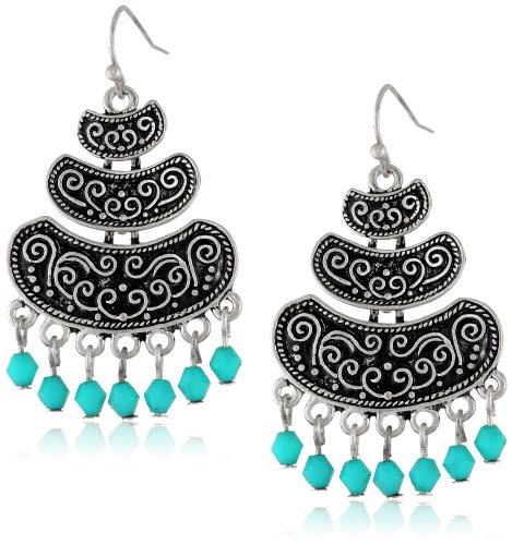 Turquoise Beaded Filigree Tiered Burnished Silver Tone Earrings