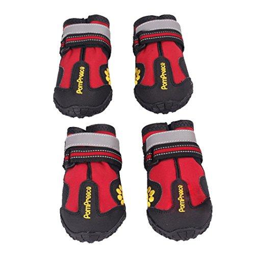 Aupooe ペット 犬 靴 レインブーツ 防水シューズ 足首調節可 滑り止め 防寒 肉球保護 散歩 アウトドア 小型 中型 大型 前後4足セット (8号)