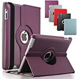 KEVENZ Apple iPad Cases and Covers for iPad 2 / iPad 3 / iPad 4 Case Cover leather 360 Rotating Stand- Purple - K401