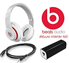 buy Beats By Dr. Dre - Beats Studio Over-The-Ear Headphones - 3.5Mm Stereo Headphone Extension 10 Feet + External Battery Power Bank Pack (White)