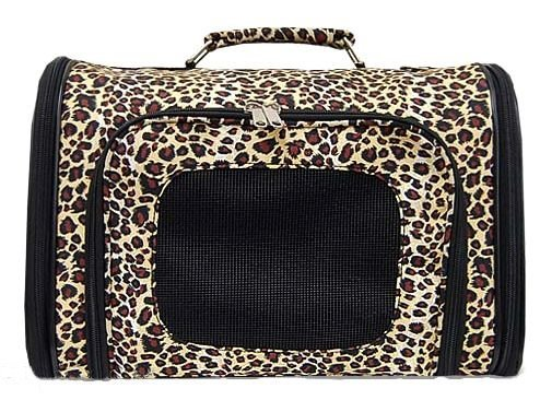 World Traveler Leopard Dog Cat Soft-sided Pet Carrier Small, 14-inch