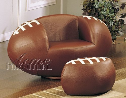 2pc Kid's Football Swivel Chair and Ottoman Set