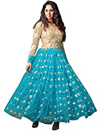 Beige And Blue Silky Net And Georgette Party Wear Anarkali Suit