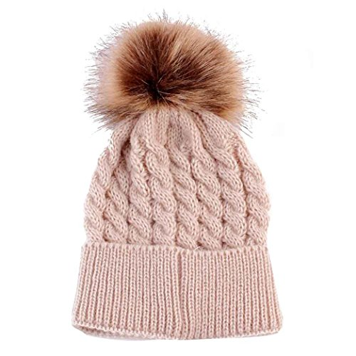 Datework Cute Winter Baby Knitted Wool Hemming Hat (Beige)