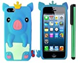 Sky Blue Cute Pig Yellow Crown Silicone Skin Premium Design Protector Soft Cover Case Compatible for Apple Iphone 5 (AT&T, VERIZON, SPRINT) + Combination 1 of New Metal Stylus Touch Screen Pen (4