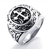 KONOV Jewelry Classic Vintage Cross Mens Ring, Stainless Steel Band, Silver, Size 9