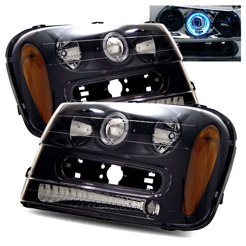 2002-2005 Chevy Trailblazer Ccfl Halo Projector Headlights /W Amber (Black)