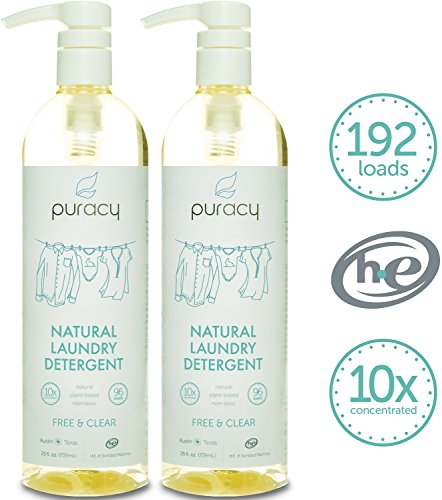 Puracy Natural 10x Liquid Laundry Detergent - No Sulfates (SLS, SLES, SCS) - THE BEST High Efficiency Laundry Soap - Free & Clear - 192 loads - Non-Toxic & Hypoallergenic - 24 Ounce (Pack of 2)
