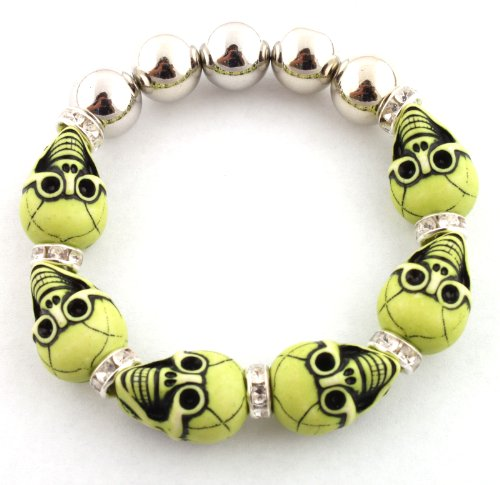 Unisex Half Metal Bead & Lime Green Two Faced Skull with Iced Out Rondelle Loops Stretch Bracelet