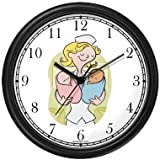 Maternity Nurse with Baby Boy and Baby Girl Wall Clock by WatchBuddy Timepieces (Black Frame)
