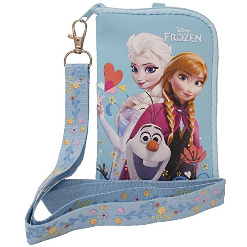 Disney Frozen Elsa Anna and Olaf Snow Blue Lanyard with Detachable Coin Purse