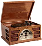 Wooden Retro Turntable 3 Speed Record Player AM/FM Radio CD and Cassette Player - (Mahogany)