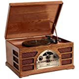Wooden Retro Turntable 3 Speed Record Player AM/FM Radio CD and Cassette Player - (Mahogany)by Zyon