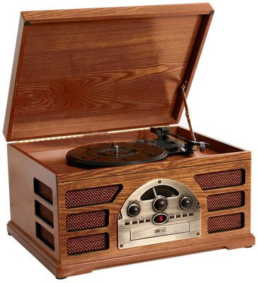 Wooden Retro Turntable 3 Speed Record Player AM/FM Radio CD and Cassette Player - (Mahogany) Black Friday & Cyber Monday 2014